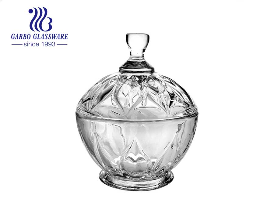 4.13inch footed clear glass candy jar with lid and leaf design as gift