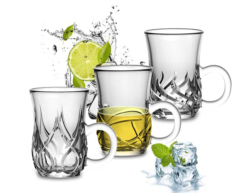Tasse à thé en verre transparent Garbo nouvelle conception avec poignée Tasse à café de 5.5 onces tasses à thé claires