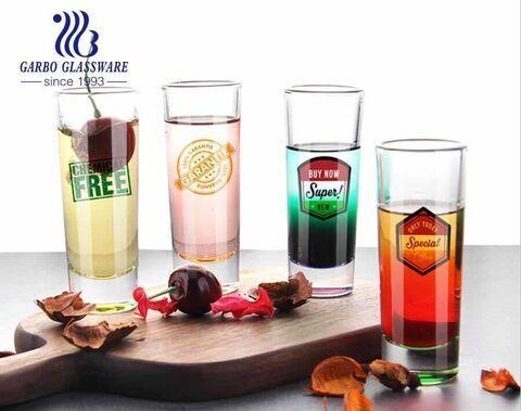 Custom design shot glasses 2oz tall shot glasses for tequila vodka