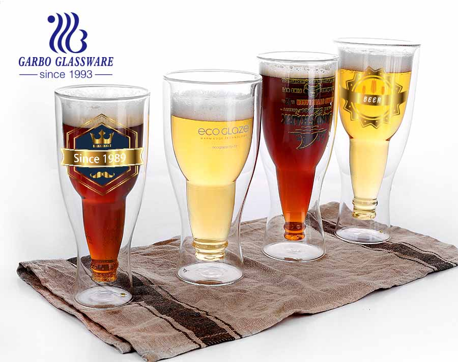 14oz High-Grade for sale (FDA) LFGB certification cold drinks borosilicate glass cup printing logo glass beer cup