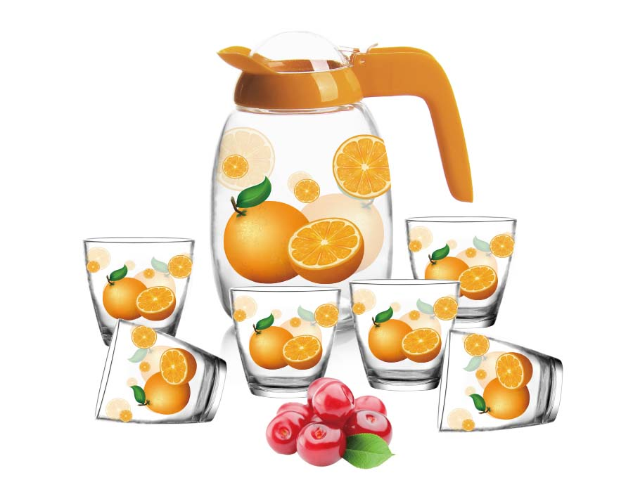 7 PCS  orange big capacity glass water drinking jug set with cute orange pattern from China factory