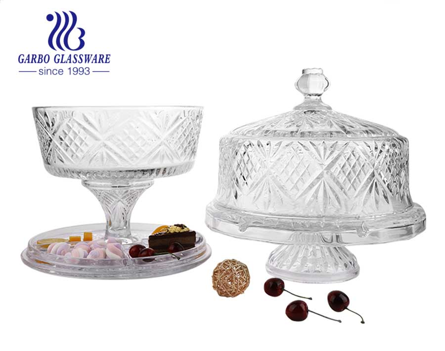 6 in 1 Engraved Dublin crystal cut glass cake plate with dome cover multiple use for candy, fruit, soup