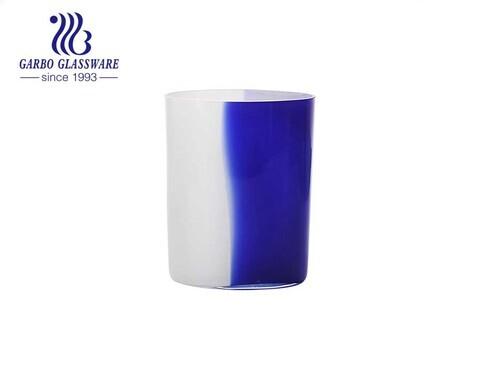 5.5 بوصة ارتفاع أزرق وأبيض منضدية زجاجية على شكل زهرة زهرية للزينة زجاجة بسيطة للاستخدام المنزلي حامل زجاج على شكل زهرة