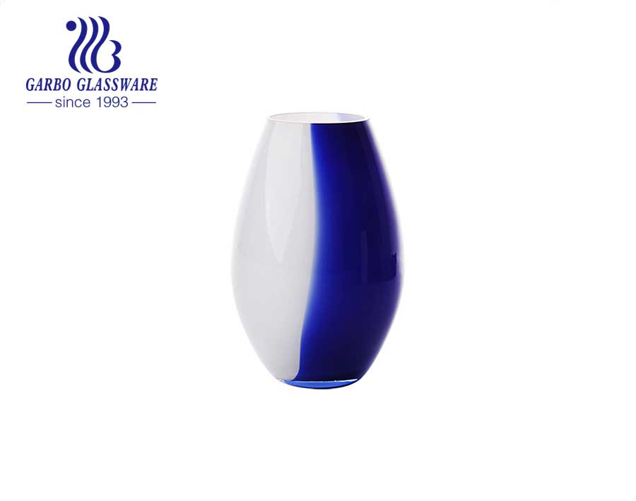 5.5 inches height Blue and White Tabletop Glass Flower Vase Decorative bottle  simple style home use flower glass  holder