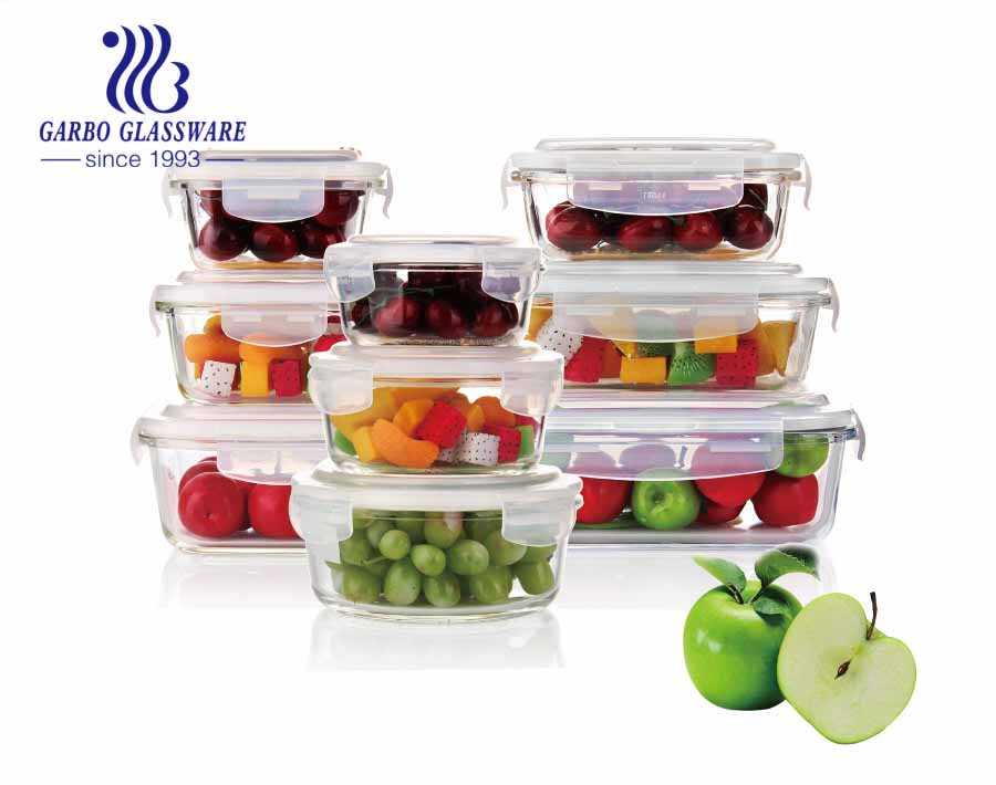 Set of 9pcs glass food containers set with round square and rectangular shape