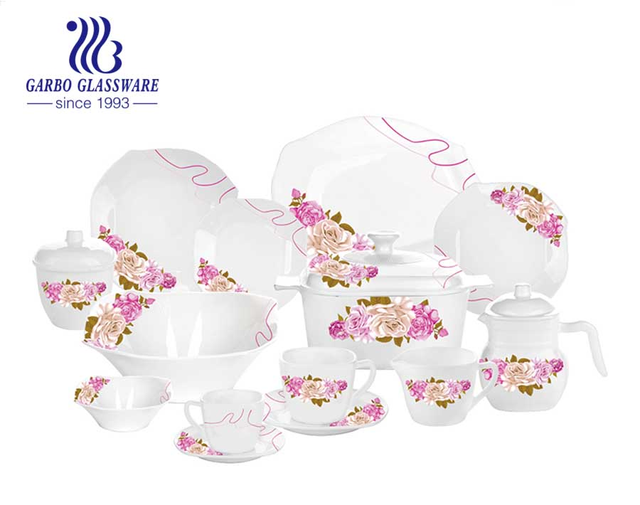 Hot-selling Set of 58pcs white tempered opal glass dinner set