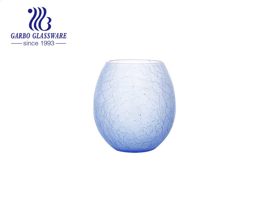 Blue Egg shape Special Tabletop Glass Vase Flower glass holder wedding party use