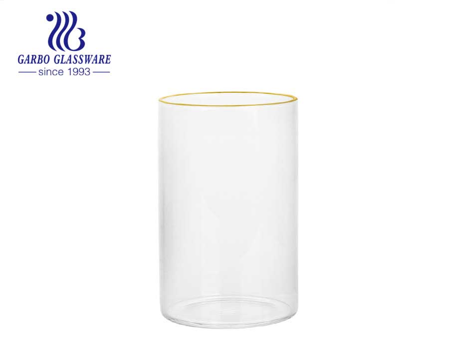 Clear elegant classical factory price reusable wholesale glassware household use Innovative custom design newest style Borosilicate Glass Cup