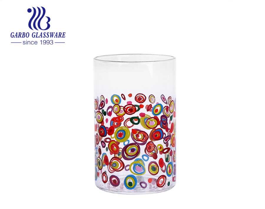 Taza de vidrio de borosilicato de vidrio de una sola pared decorativa transparente de 340 ml tipo npersonality estilo más vendido