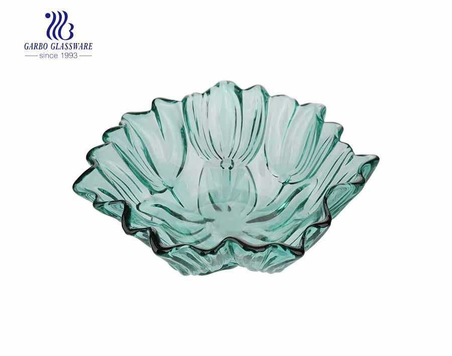 Frutero grande para ensalada de vidrio de color sólido de 11 pulgadas con patrón de loto verde