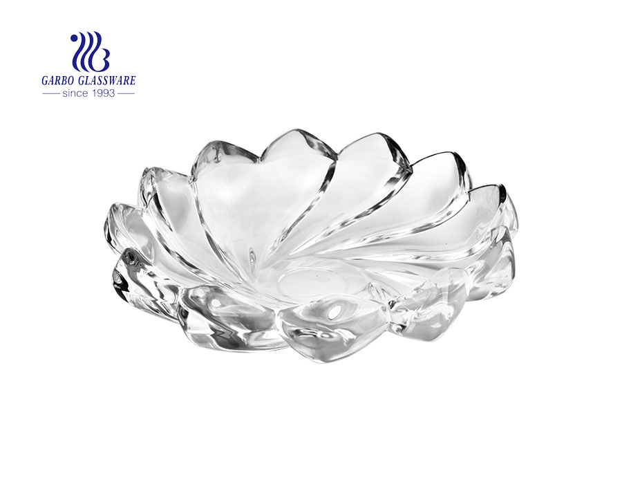 9-inch exquisite European style simple trophy design glass fruit bowl with feet