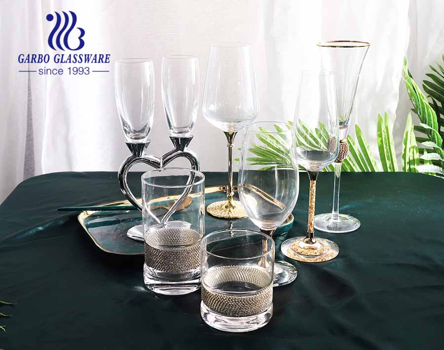 Royal style luxurious glass goblet with metal diamond stem good gift for wedding party