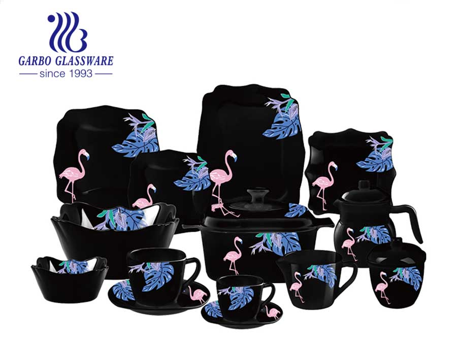 Black tempered opal glass set of 58pcs with popular Flamingo designs