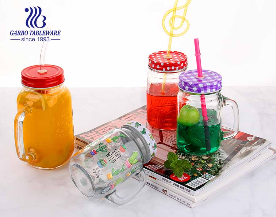 Regular 0.13 gallon mason jars 17.6oz homemade juice mason jar drinking glasses with color lid and straw