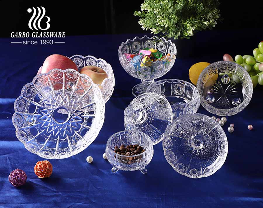 wholesale crystal candy dish with lid elegant footed vintage cut glass sweet jars with sunflower design