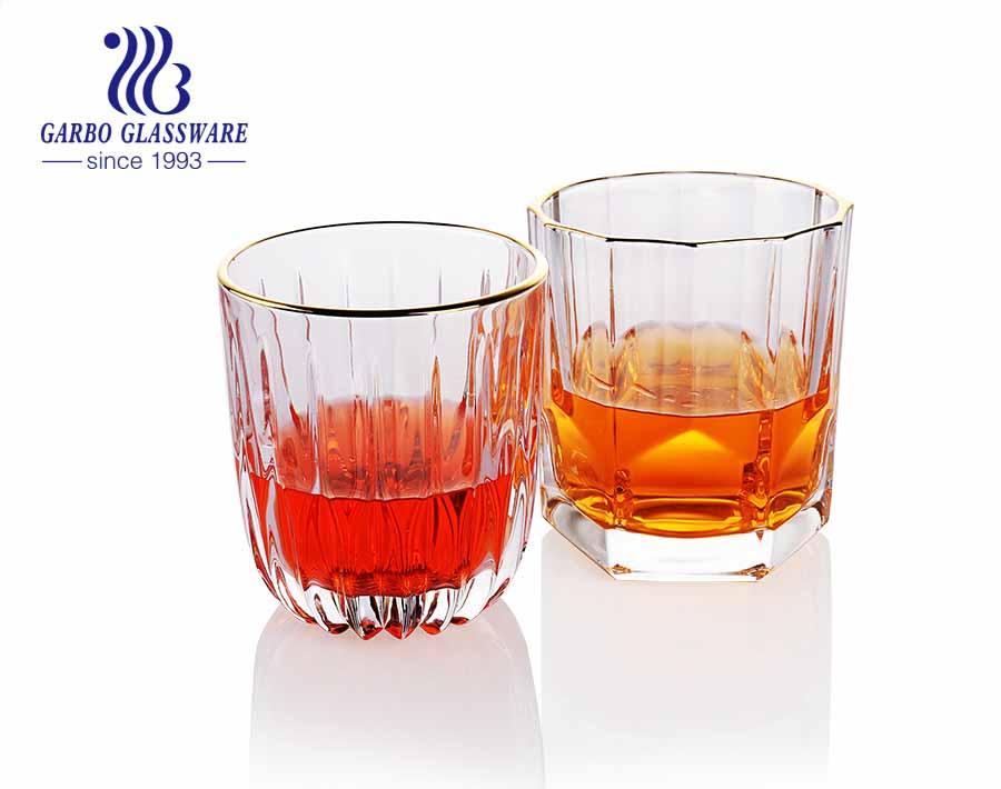 Bức tranh thủ công sang trọng cốc thủy tinh rượu whisky dày với viền vàng