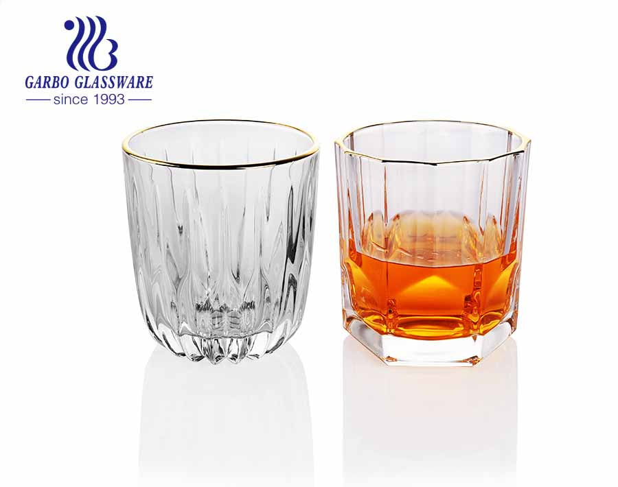 Luxury handmade painting thickened whisky glass tumbler with gold rim