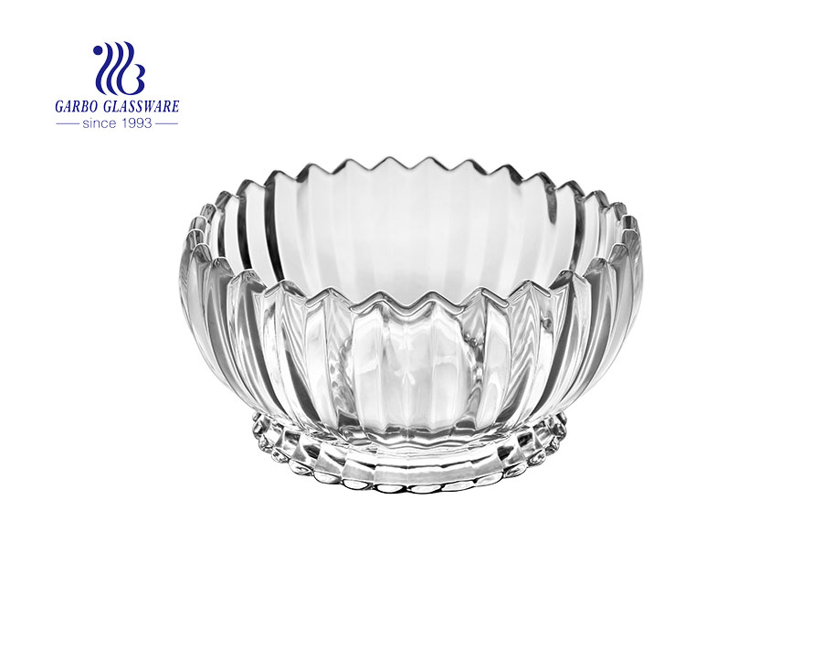 Large size high-end lotus pattern glass fruit dessert ice cream bowl with stand