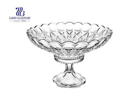 ألواح حلوى سلطة فواكه زجاجية ذات تصميم بسيط متطور 12.4 بوصة للاستخدام على الطاولة