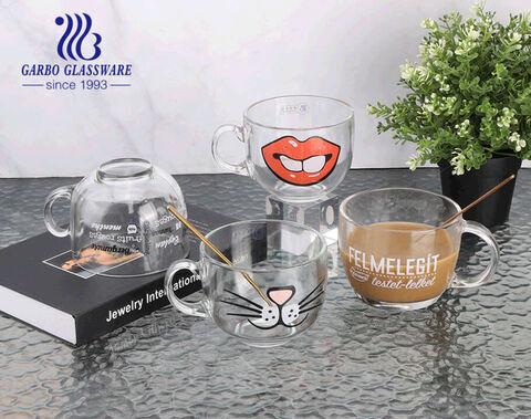 Tazas de cristal calientes de la venta de la taza del café con leche modificada para requisitos particulares 15oz de las etiquetas con las asas