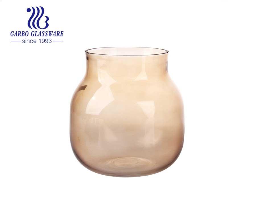 Trumpet Flower Mouth Design Purple Wedding Use Tabletop Glass Vase Flower Holder