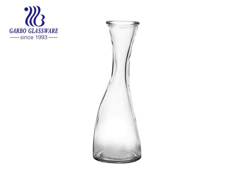 Jarra para beber de agua de botella de vidrio con diseño de cintura delgada de 14 oz para leche de jugo