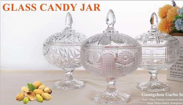 Garbo Four Design Big Glass Candy Jars with Stemware