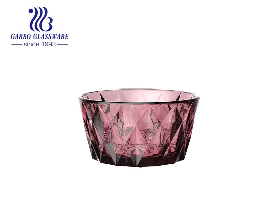 High-end transparent fuchsia-colored glass salad fruit bowl with embossed diamond pattern design from factory