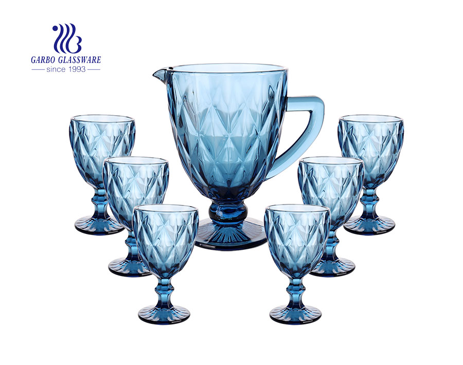 7 PCS Crystal blue high-end vintage glass water drinking jug set with goblet for wine beverage good decor on table