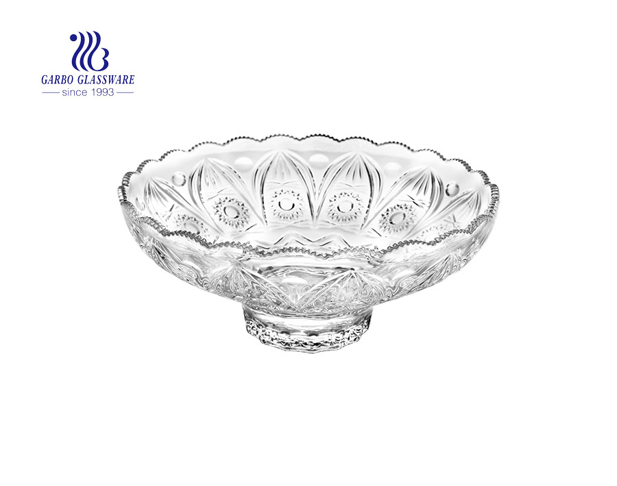 14 inch simple embossed decorated glass fruit dessert salad dish plates for tabletop using