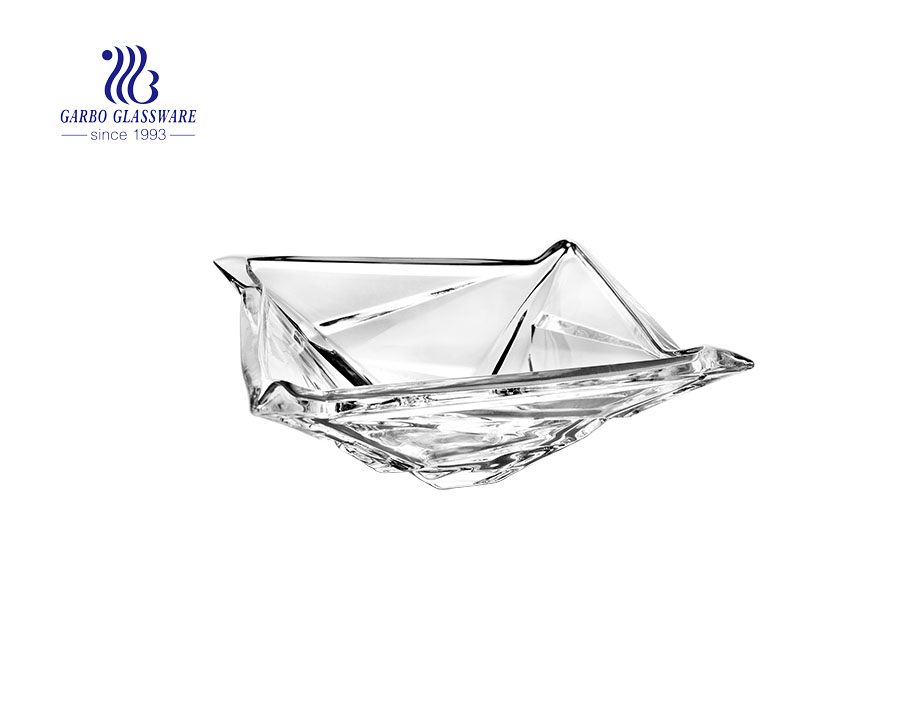 Geometric design 9 inches high white glass fruit bowl with special and unique design