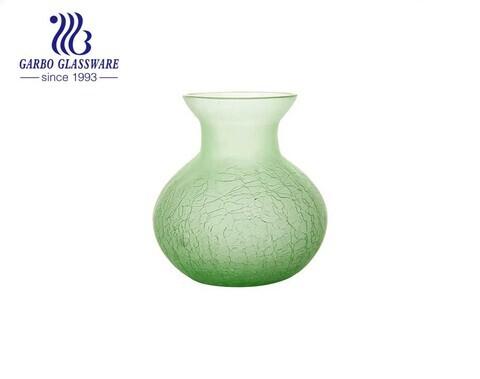 مزهرية زجاجية فاخرة مصنوعة يدويًا مزهرية خضراء على شكل زهرة ارتفاع 4 بوصات