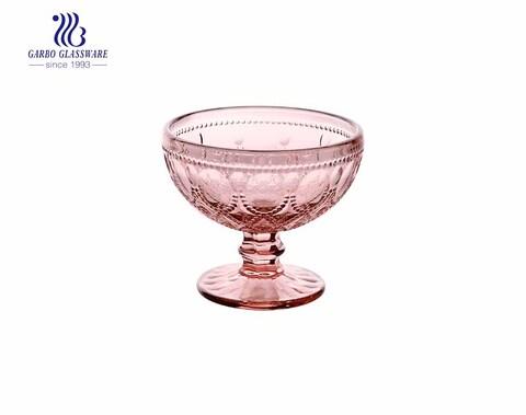 11 oz cor rosa com pés com design especial de colar de vidro sólido copo sorvete tigela de copo de sobremesa