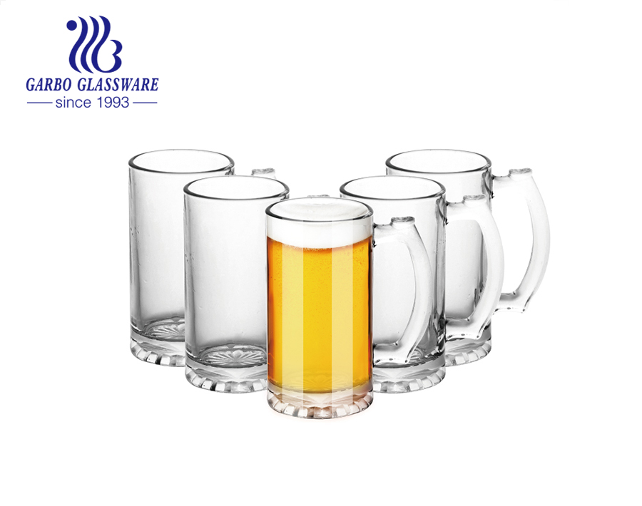 14oz Glass Mugs With Handle Large Beer Glasses Set Beer Cups Pub Drinking Mugs Stein For Bar Alcohol Beverages