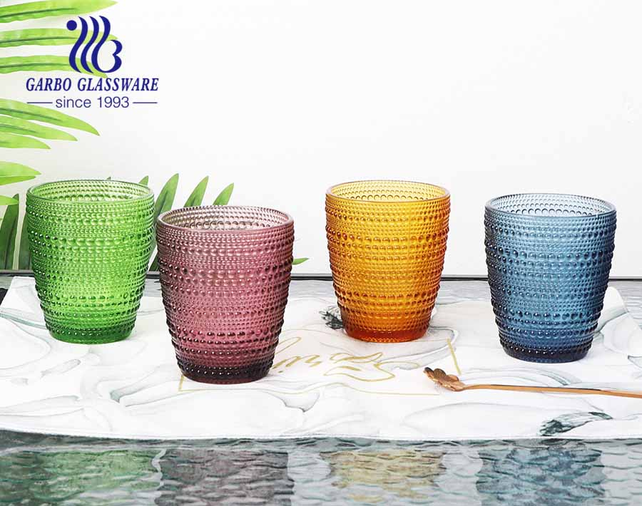 10oz egg shape glass water and juice tumbler with solid color hot sale for supermarket