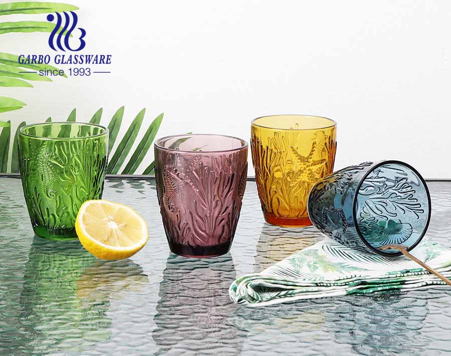 300ml high quality egg shape glass tumbler for water and juice drinking with solid color
