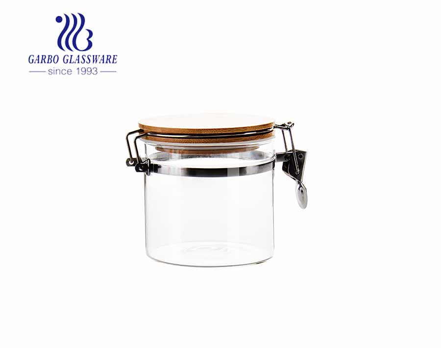 High borosilicate 46oz large glass food storage jars with airtight hinged lids