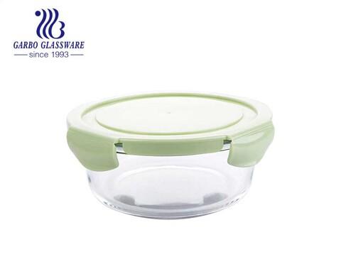 Recipientes de vidro herméticos para alimentos lancheira de carne redonda de 1L com tampa de silicone
