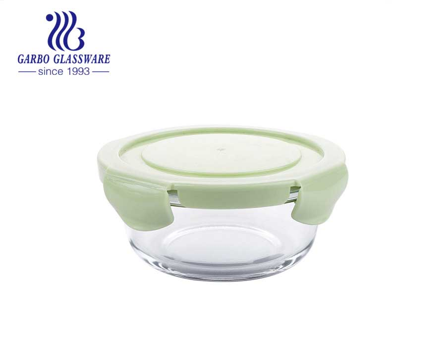 Airtight Glass food containers 1L round meat lunch box with silicone lid