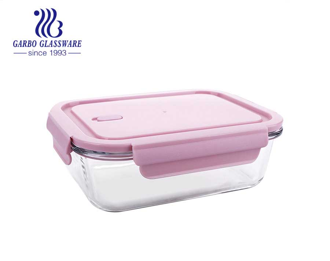 Tampa de travamento rosa recipiente retangular de vidro para alimentos 37 onças