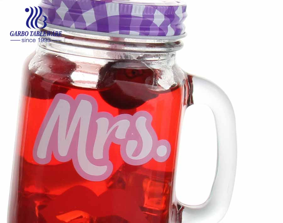 Customized print 17oz gallon mason jar glasses mug with handle and screw cap