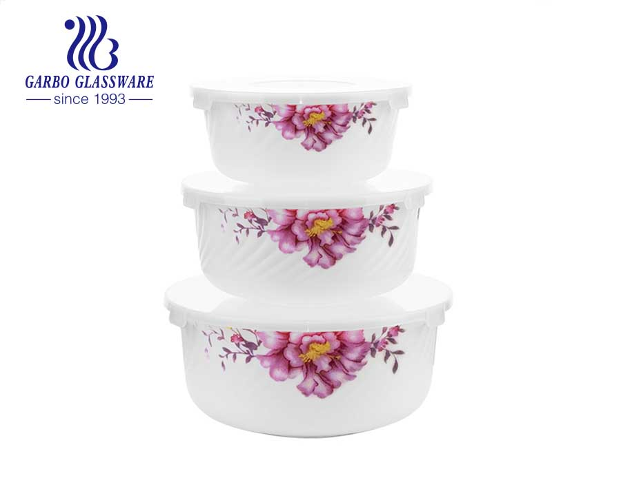 Set of 3PCS White opal tempered glass bowl set with customize flower designs