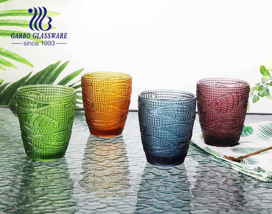 300ml amber color glass cup with solid color glassware for tableware using