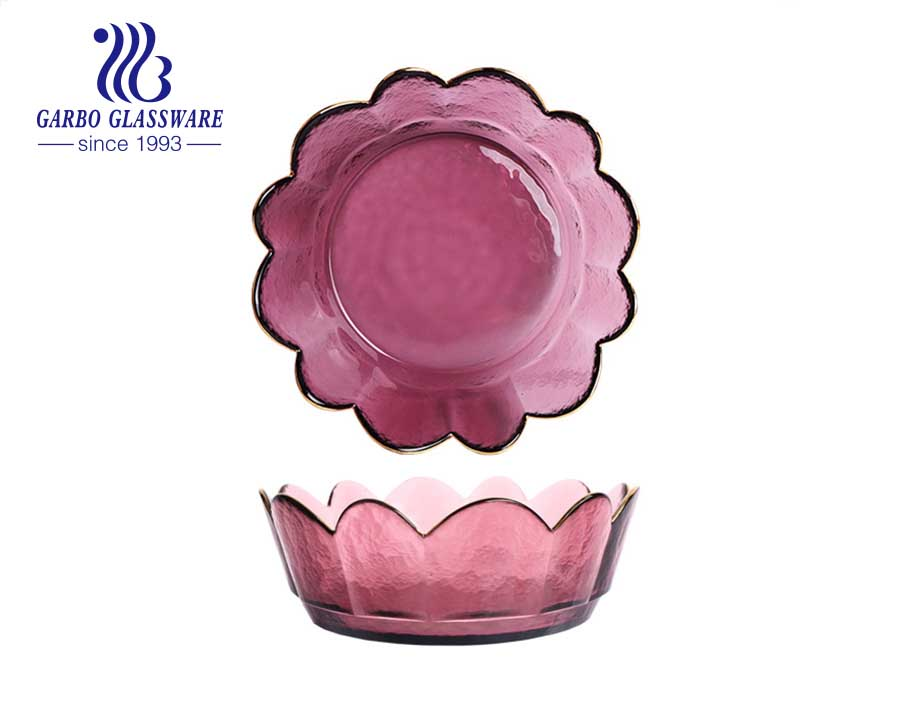 Golden solid color royal style flower shape glass bowl with engraved design and flower edge with wholesale price