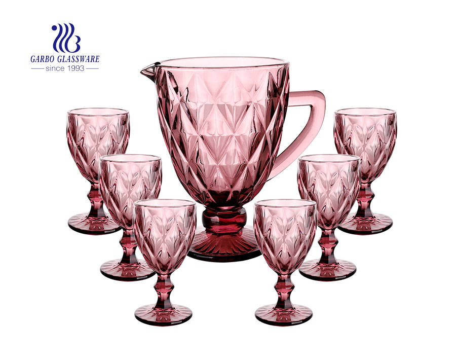 7 PCS vintage style pink glass water drinking jug set with engraved pattern classical jug set with goblet cup for wine beverage