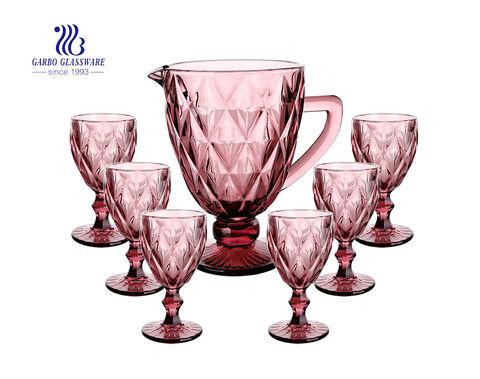 Juego de jarra para beber de agua de vidrio rosa de estilo vintage de 7 piezas con patrón grabado juego de jarra clásica con copa para bebida de vino
