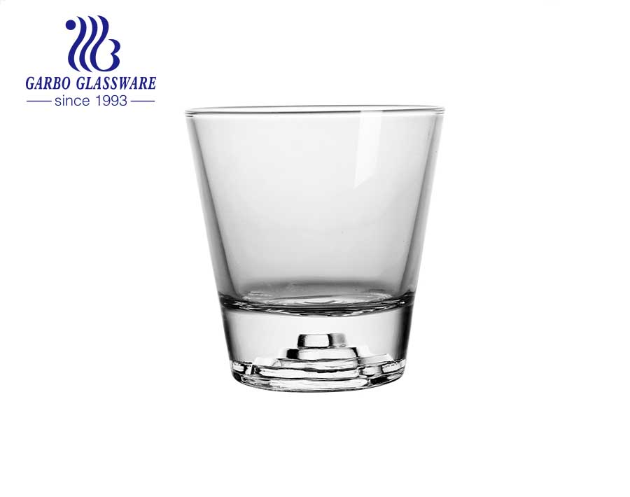 In stock creative iceberg and volcano design bottom glass tumbler