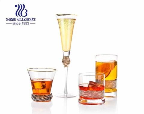 7 oz de la mejor calidad de diamantes decorativos Copa de champán sin plomo logotipo de la etiqueta de cristal para la venta copa de vidrio