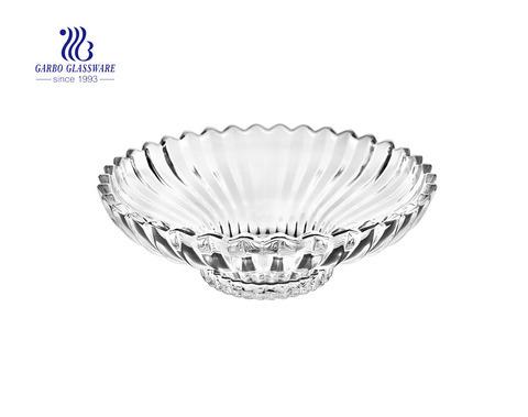 Ensaladera de frutas de vidrio elegante de 12.5 pulgadas con diseño y soporte de flor de loto