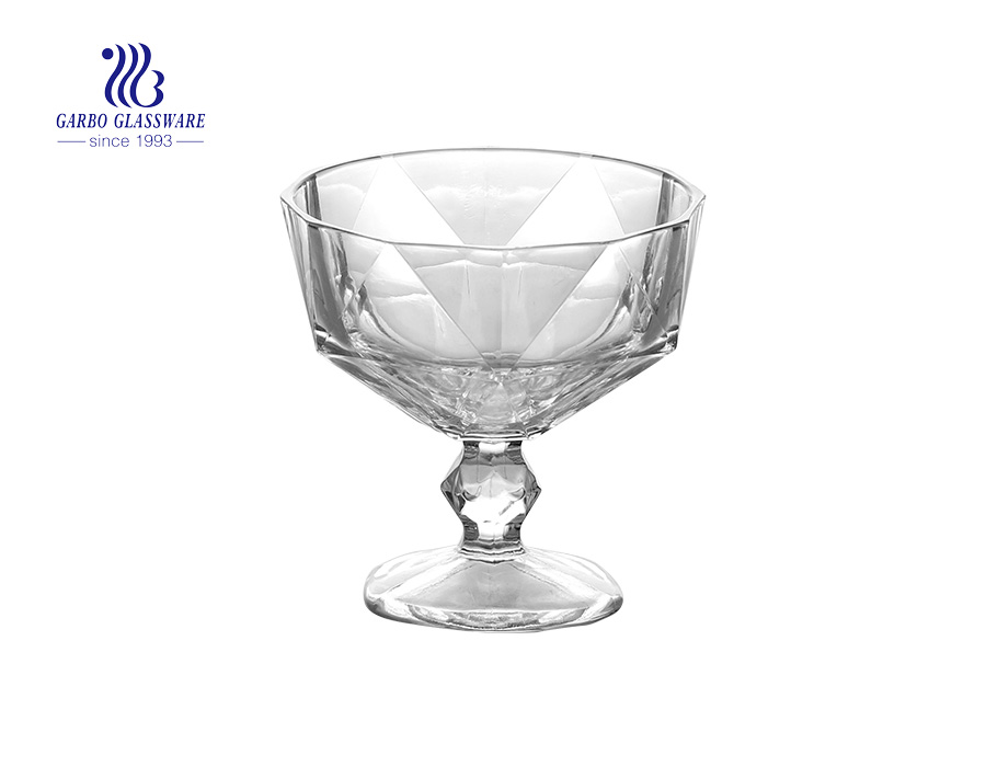 Footed  Special New  Design Solid Glass Cup Ice Cream Dessert Glass Bowl 8 oz  lead free